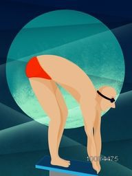Illustration of a Swimmer on creative abstract background for Sports concept.