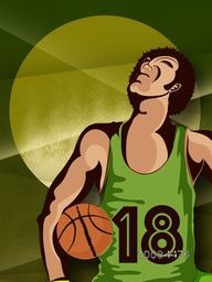 Creative illustration of Basketball player on abstract background for Sports concept.