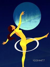 Illustration of a Girl doing Gymnastics with Hoop on stylish blue background for Sports concept.