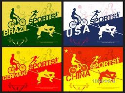 Set of four creative Poster or Banners design with participant countries names and illustration of different sports players in playing action.