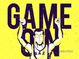 Stylish Big Text Game On with illustration of a man in winning pose on yellow background, Creative Poster, Banner or Flyer for Sports concept.