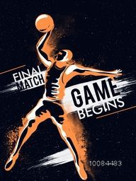 Creative illustration of a Basketball Player in action with Stylish Text Game Begins for Sports concept.