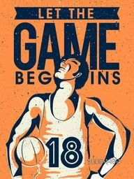 Creative illustration of a Basketball Player with Stylish Text Game Begins, Vintage Poster, Banner or Flyer design for Sports concept.