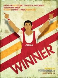 Illustration of a player in winning pose for Sports concept, Vintage Poster, Banner or Flyer design.