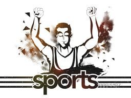 Illustration of a player in winning pose on abstract background, Creative Poster, Banner or Flyer for Sports concept.