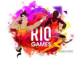 Illustration of different sports players in action on colorful abstract background, Creative Poster, Banner or Flyer design.