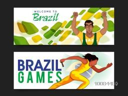Creative Website Header or Banner set with Brazilian Flag colors abstract design and illustration of players for Sports concept.