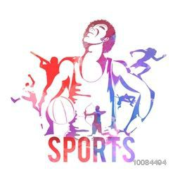 Creative illustration of different sports players on white background, Can be used as Poster, Banner or Flyer design.