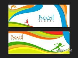 Creative Website Header or Banner set with colorful abstract pattern for Sports concept.