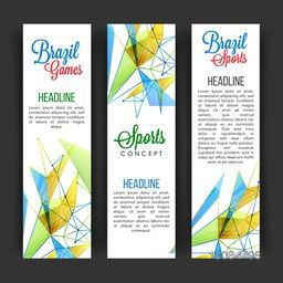 Creative Website Banner set decorated with abstract design for Sports concept.
