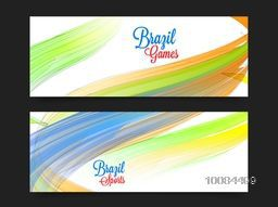 Creative Website Header or Banner set decorated with shiny abstract design for Sports concept.