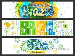 Website Header or Banner set with Brazilian Flag colors typographic designs and other elements.