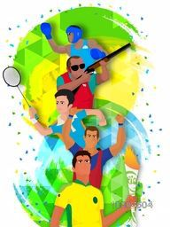 Creative illustration of different sports players on abstract background, Can be used as Poster, Banner or Flyer design.