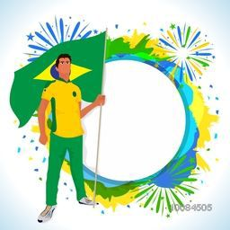 Illustration of a player holding Flag of Brazil on abstract background with space for your text, Creative Poster, Banner or Flyer design for Sports concept.