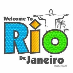 Creative Brazilian Flag Colors Text Rio De Janeiro on white background, Can be used as Poster, Banner or Flyer design.