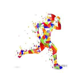 Creative illustration of a Running Man made by colorful abstract design on white background for Sports concept.