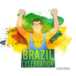 Illustration of a winner player on colorful abstract watercolor background for Sports concept, Creative Poster, Banner or Flyer for Brazil Celebration.