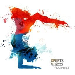 Creative abstract illustration of a girl doing Gymnastics for Sports concept.