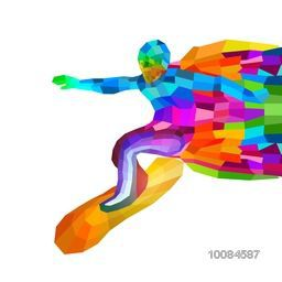 Creative illustration of a Surfer made by colorful abstract design on white background for Sports concept.