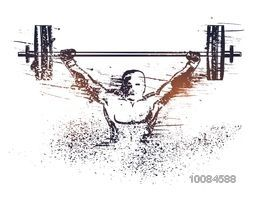 Abstract illustration of a man lifting heavy weight, Creative Sports background, Can be used as Poster, Banner or Flyer design.