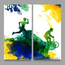 Creative Website Banner set with illustration of running man and bicycle rider on abstract watercolor background for Sports concept.
