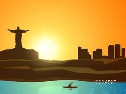 Creative illustration of cityscape with Kayaker for Sports concept.