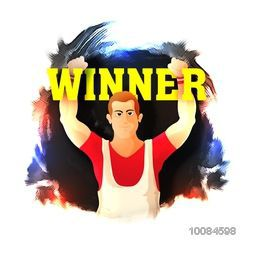 Illustration of a player in winning pose on colorful abstract background for Sports concept.