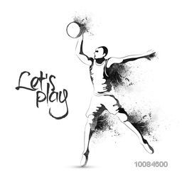 Creative illustration of Basketball player with abstract splash for Sports concept.