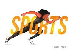 Glossy Text Sports with illustration of a running girl on white background, Can be used as Poster, Banner or Flyer design.