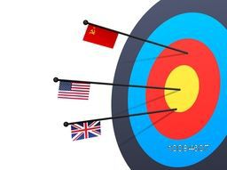 Creative illustration of a Target with Arrows showing Soviet Union, United States of America and Great Britain Flags for Sports concept.