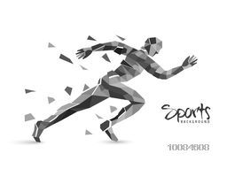 Creative Sports Background with illustration of a Running Man made by abstract design, Can be used as Poster, Banner or Flyer design.