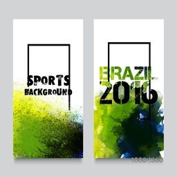 Creative website banner set, Abstract sports background with Brazilian Flag colors watercolor splash, Brazil 2016 games concept, Can be used as cover design, website background, advertising or print.