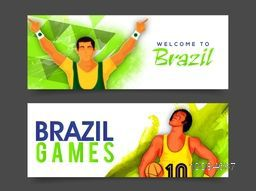 Creative website header or banner set with illustration of players, Sports background with text Welcome to Brazil and Brazil Games, Can be used as web, print, cover design or advertising.