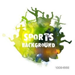Creative abstract sports background with illustration of different games in Brazilian Flag colors, Can be used as Poster, Banner or Flyer design.