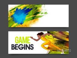 Creative website header or banner set, Sports background with female relay runner, Brazilian Flag colors splash, Can be used as web, print, cover design or advertising.
