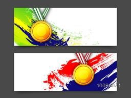Creative website header or banner set, Abstract background with glossy Medals on watercolor brush strokes, Vector illustration for Sports concept.