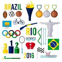 Set of various creative elements for Brazil Games or Sports concept.