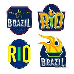 Set of creative Sticker, Tag, Label or Badge design on white background for Sports concept.