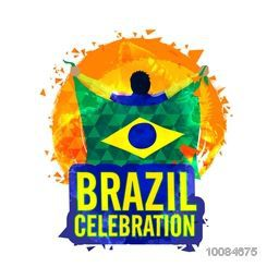 Creative illustration of a player holding Flag of Brazil on abstract background for Sports concept, Can be used as Poster, Banner or Flyer design.