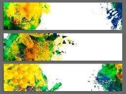 Creative Website Header or Banner set with colorful abstract watercolor design and space for your text.