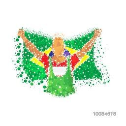 Creative abstract illustration of a Player holding Brazilian Flag on white background for Sports concept.