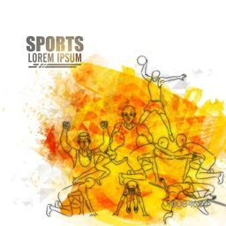 Illustration of different Sports Players in playing action on abstract background, Can be used as Poster, Banner or Flyer design.