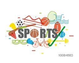 Flat style illustration of different Sports equipments on white background, Can be used as Poster, Banner or Flyer design.