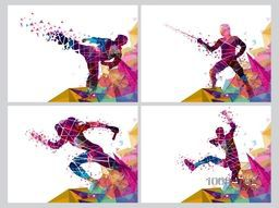 Set of four Sports Poster, Banner or Flyer, Creative illustration of Runner, Fencing Player and Martial Art Player made by colorful abstract design.