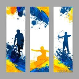 Creative website banner set, Abstract Sports background with illustration of different sports players, Vector illustration for web, print, cover design and advertising etc.
