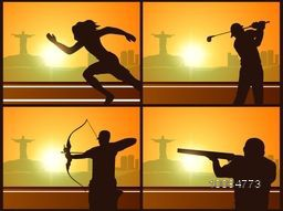 Set of four Sports Poster, Banner or Flyer with silhouette of Race, Golf, Archery and Shooting Players in playing action on city view background.