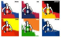 Set of Basketball Players with participant countries flag color splash background, Can be used as Poster, Banner or Flyer design for Sports concept.