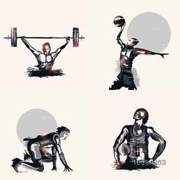 Set of different Sports including Weight Lifting, Basketball and Race, Glossy abstract illustration of players in action.