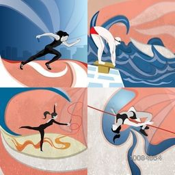 Set of four different Sports background showing Relay Race, Swimming, Gymnastics and High Jump, Illustration of players on stylish vintage background.