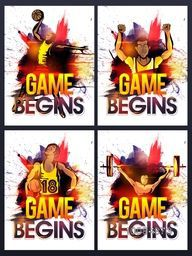 Creative illustration of players in different pose on abstract watercolor background, Stylish Sports Poster, Banner or Flyer set.